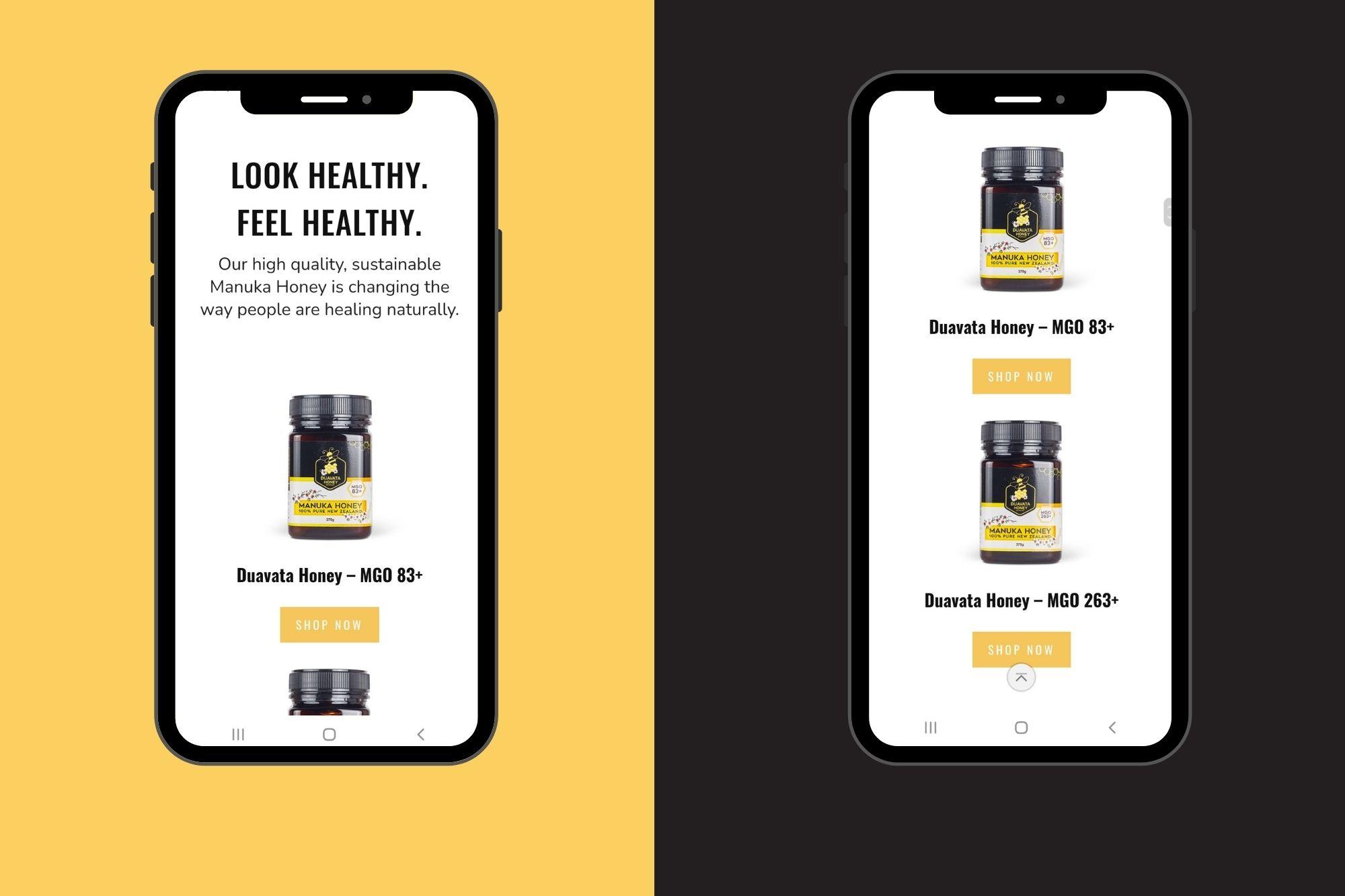 duavata honey mobile optimised website cloud media