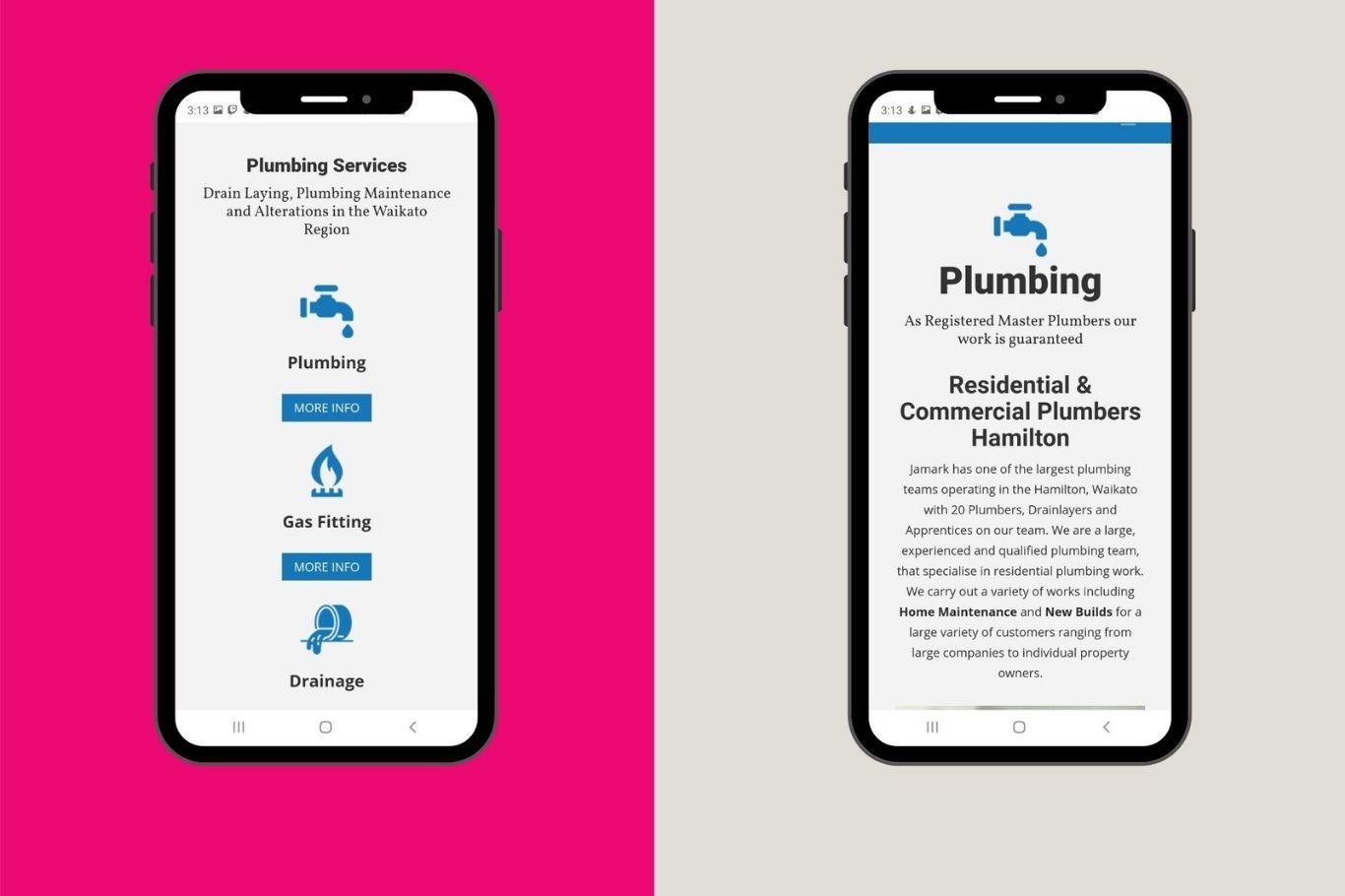 jamark plumbing mobile optimised website designing cloud media