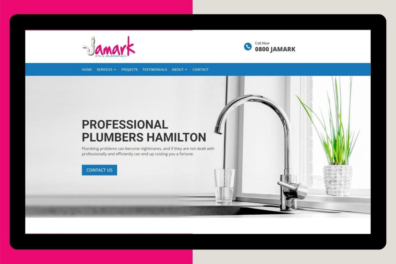 jamark plumbing website designing development cloud media